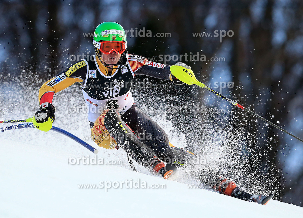 04.01.2013, Crveni Spust, Zagreb, AUT, FIS Ski Alpin Weltcup, Slalom, Damen, 1. Lauf, im Bild Erin Mielzynski (CAN) // Erin Mielzynski of Canada in action during 1st Run of the ladies Slalom of the FIS ski alpine world cup at Crveni Spust course in Zagreb, Croatia on 2013/01/04. EXPA Pictures © 2013, PhotoCredit: EXPA/ Pixsell/ Jurica Galoic..***** ATTENTION - for AUT, SLO, SUI, ITA, FRA only *****