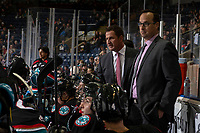 KELOWNA, CANADA - OCTOBER 23: Head coach Adam Foote stands on the bench during second period for his first ever WHL game as a coach against the Swift Current Broncos  on October 23, 2018 at Prospera Place in Kelowna, British Columbia, Canada.  (Photo by Marissa Baecker/Shoot the Breeze)