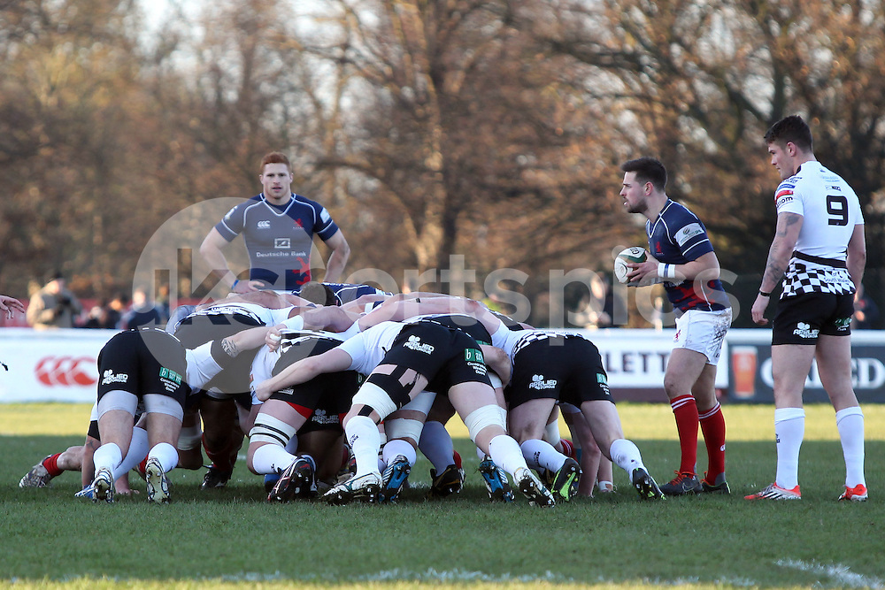 The London Scottish team in a scrum during the B&amp;I Cup match between London Scottish &amp; Pontypridd at Richmond, Greater London on 13th December 2014<br /> <br /> Photo: Ken Sparks | UK Sports Pics Ltd<br /> London Scottish v Pontypridd, B&amp;I Cup, 13th December 2014<br /> <br /> &copy; UK Sports Pics Ltd. FA Accredited. Football League Licence No:  FL14/15/P5700.Football Conference Licence No: PCONF 051/14 Tel +44(0)7968 045353. email ken@uksportspics.co.uk, 7 Leslie Park Road, East Croydon, Surrey CR0 6TN. Credit UK Sports Pics Ltd