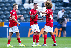 Andi Weimann, Jack Hunt and Han-Noah Massengo of Bristol City celebrate victory over Hull City - Mandatory by-line: Robbie Stephenson/JMP - 24/08/2019 - FOOTBALL - KCOM Stadium - Hull, England - Hull City v Bristol City - Sky Bet Championship