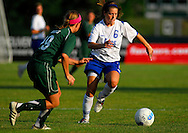 5 JUNE 2010 -- FENTON, Mo. -- Liberty High School's Brooke Williams (6) pushes the ball past Pattonville High Kimberly Hulse (19) during the Class 3 championship game at the MSHSAA girls' soccer tournament Saturday, June 5, 2010 at the Anheuser-Busch Center in Fenton, Mo. Photo © copyright 2010 by Sid Hastings.