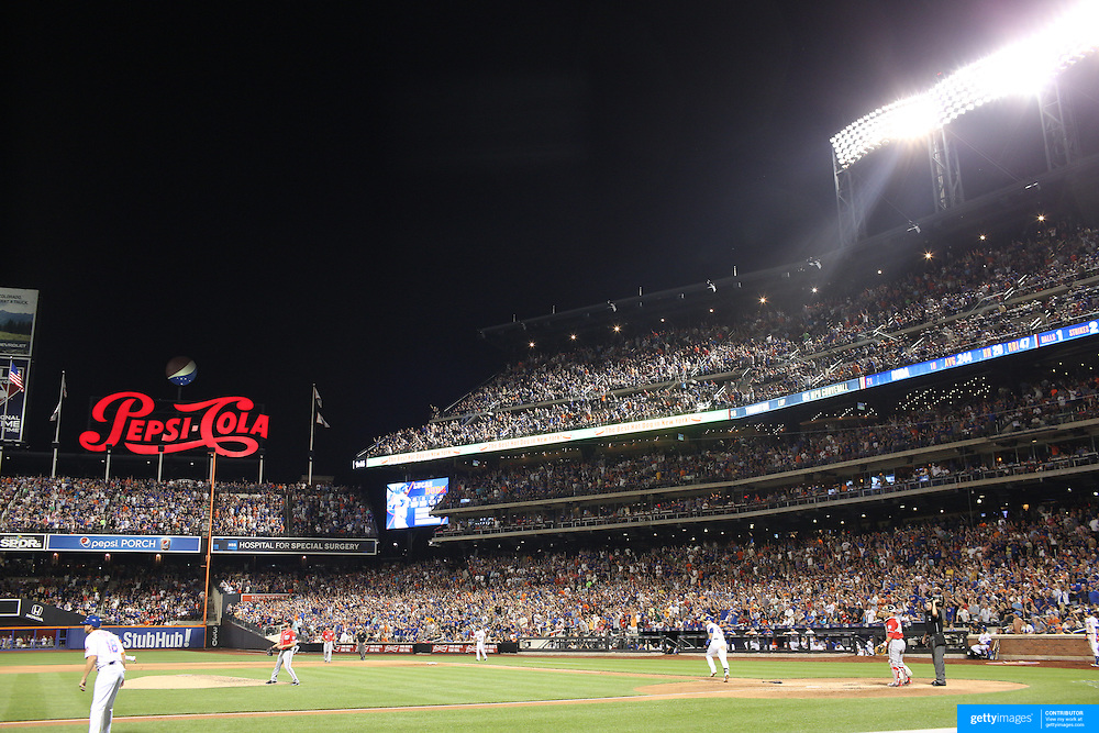 Lucas Duda, New York Mets, hits a double in the eigth inning to score Curtis Granderson during the New York Mets Vs Washington Nationals. MLB regular season baseball game at Citi Field, Queens, New York. USA. 1st August 2015. Photo Tim Clayton