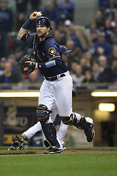 April 18, 2018 - Milwaukee, WI, U.S. - MILWAUKEE, WI - APRIL 18: Milwaukee Brewers catcher Jett Bandy (47) throws to third during a baseball game between the Milwaukee Brewers and the Cincinnati Reds at Miller Park on April 18, 2018 in Milwaukee, WI. (Photo by Larry Radloff/Icon Sportswire) (Credit Image: © Larry Radloff/Icon SMI via ZUMA Press)
