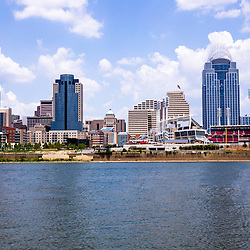 Photo of Cincinnati Ohio skyline  and downtown city office buildings including Great American Ballpark, Great American Insurance Group Tower, PNC Tower building, Omnicare building, US Bank building, Carew Tower building, and Scripps Center building. Photo was taken in July 2012.