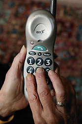 Close up of large numbered telephone to make dialling easier for visually impaired person,