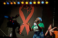 Austria, Vienna. XVIII International AIDS Conference (AIDS 2010).Human Rights March and Rally at AIDS 2010 followed by a live performance by Annie Lennox..Photo Shows: Co-moderator, Rolake Odetoyinbo - Project Director, Positive Action for Treatment Access in Nigeria..©IAS/Steve Forrest/Workers' Photos