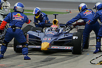 Alex Barron pits at the Kansas Speedway, Kansas Indy 300, July 3, 2005