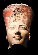 Statue head of Hatshepsut Queen of Egypt. Head of an Osiride Statue of Hatshepsut. 18th Dynasty Joint reign of Hatshepsut and Thutmose III ca. 1473–1458 B.C. Egypt, Thebes, Deir el-Bahri, Limestone, paint