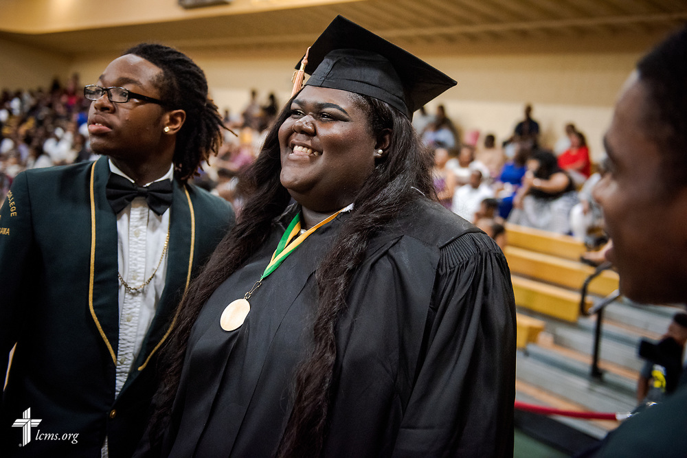 The final graduate prepares to cross the stage at the 92nd and final Commencement Exercises on Saturday, April 28, 2018, in the Julius and Mary Jenkins Center at Concordia College Alabama in Selma, Ala. LCMS Communications/Erik M. Lunsford