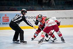 25.09.2016, Ice Rink, Znojmo, CZE, EBEL, HC Orli Znojmo vs HCB Suedtirol Alperia, 4. Runde, im Bild v.l. Jan Seda (HC Orli Znojmo) Jesse Root (HCB Sudtirol) // during the Erste Bank Icehockey League 4th Round match between HC Orli Znojmo and HCB Suedtirol Alperia at the Ice Rink in Znojmo, Czech Republic on 2016/09/25. EXPA Pictures © 2016, PhotoCredit: EXPA/ Rostislav Pfeffer