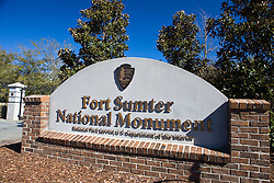 National Park Service welcome sign to Fort Sumter National Monument, Charleston, South Carolina, United States of America.
