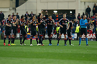 Bayer 04 Leverkusen´s players celebrate a goal during penalty shootouts at the UEFA Champions League round of 16 second leg match between Atletico de Madrid and Bayer 04 Leverkusen at Vicente Calderon stadium in Madrid, Spain. March 17, 2015. (ALTERPHOTOS/Victor Blanco)