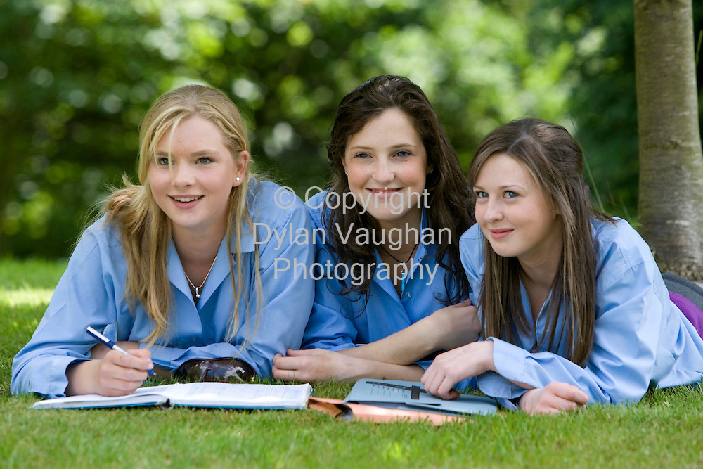 7/6/2007.From left Stephaine Hutchinson, Heather Heffernan and Roisin Cahill pictured yetserday at Kilkenny College ahead of the Junior Cert Irish Exam..Picture Dylan Vaughan.