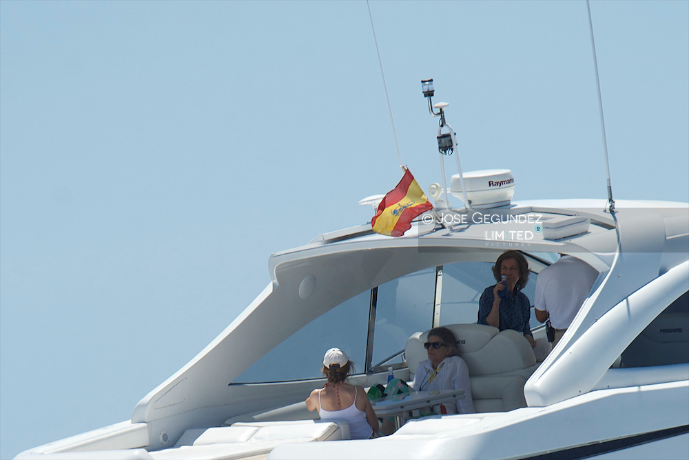 Queen Sofia of Spain, Irene of Greece and Princess Elena attendt Sailing's 2013 Copa del Rey in Palma de Mallorca, Spain