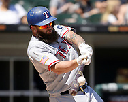 CHICAGO - JULY 02:  Mike Napoli #5 of the Texas Rangers hits a home run in the top of the fourth inning against the Chicago White Sox on July 2, 2017 at Guaranteed Rate Field in Chicago, Illinois.  The White Sox defeated the Rangers 6-5.  (Photo by Ron Vesely) Subject:   Mike Napoli