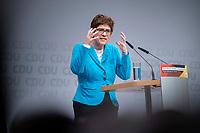 30 NOV 2018, BERLIN/GERMANY:<br /> Annegret Kramp-Karrenbauer, CDU Generalsekretaerin, haelt eine Rede, waehrend der Regionalkonferenz der CDU zur Vorstellung der Kandidaten fuer das Amt des Bundesvorsitzenden der CDU, Estrell Convention Center<br /> IMAGE: 20181130-01-027
