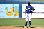 PHOENIX, AZ - MARCH 04:  Eric Sogard #18 of the Milwaukee Brewers stands on the field in the spring training game against the Texas Rangers at Maryvale Baseball Park on March 4, 2017 in Phoenix, Arizona.  (Photo by Jennifer Stewart/Getty Images)