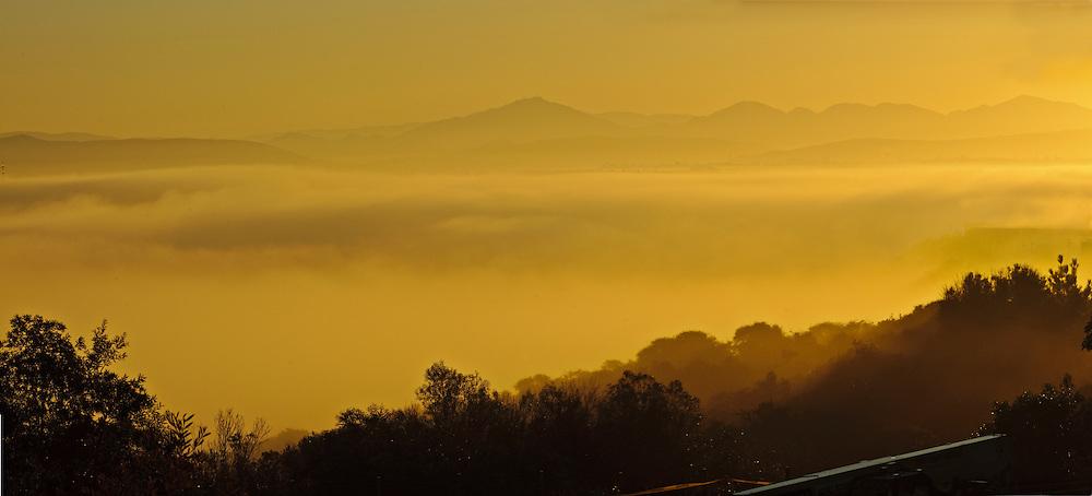 San Diego, California, at sunrise, fog in Valleys