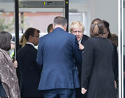 © Licensed to London News Pictures . 02/10/2018. Birmingham, UK. BORIS JOHNSON arrives and passes through security at the conference on day 3 of the Conservative Party conference at the ICC in Birmingham . Photo credit: Joel Goodman/LNP