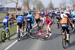 March 25, 2018 - Wevelgem, BELGIQUE - WEVELGEM, BELGIUM - MARCH 25 : crash BIERMANS Jenthe  (BEL)  of Team Katusha Alpecin  during the Flanders Classics 80th Gent - Wevelgem - In Flanders Fields cycling race with start in Deinze and finish in Wevelgem on March 25, 2018 in Wevelgem, Belgium, 25/03/18 (Credit Image: © Panoramic via ZUMA Press)