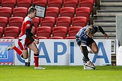 Bristol Rugby Winger Charlie Amesbury scores a try - Mandatory byline: Rogan Thomson/JMP - 22/01/2016 - RUGBY UNION - Ashton Gate Stadium - Bristol, England - Bristol Rugby v Ulster A - British & Irish Cup.