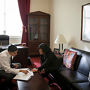 Representative Pramila Jayapal (D-WA, 7) meets in her Congressional office, with her Deputy Chief of Staff, Ven Neralla, on Tuesday, January 31, 2017.  Much of the day was spent discussing the executive order restricting entry into the United States from 7 Muslim-majority countries. For The Stranger (Seattle, WA).