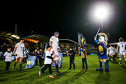 Worcester Warriors players run out with the mascots - Rogan/JMP - 05/01/2018 - RUGBY UNION - Sixways Stadium - Worcester, England - Worcester Warriors v Bath Rugby - Aviva Premiership.