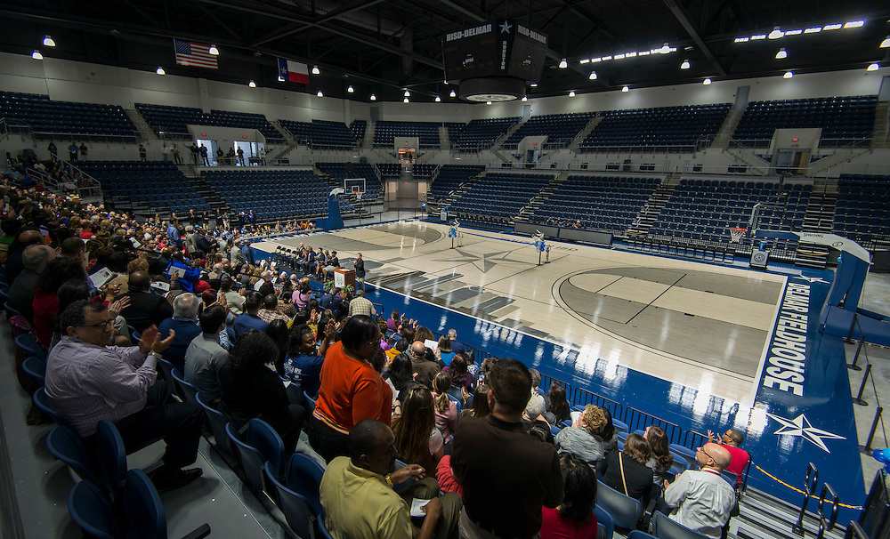 Houston ISD Director of Athletics Marmion Dambrino gives a welcome message during a grand opening ceremony at Delmar Fieldhouse, February 10, 2017.