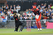 Leicestershire Foxes Harry Swindells  during the Vitality T20 Blast North Group match between Lancashire Lightning and Leicestershire Foxes at the Emirates, Old Trafford, Manchester, United Kingdom on 30 August 2019.