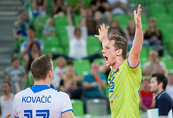 Tine Urnaut of Slovenia reacts during volleyball match between National teams of Slovenia and F.Y.R. Macedonia in Qualifications for 2015 CEV Volleyball European Championship - Men on May 24, 2014 in Arena Stozice, Ljubljana, Slovenia. Photo by Vid Ponikvar / Sportida