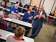 18 NOVEMBER 2019 - DES MOINES, IOWA: Former Governor DEVAL PATRICK (D-MA) takes questions from Polk County Democrats at their November monthly meeting in Des Moines Monday night. Gov. Patrick made his first campaign trip to Iowa Monday after announcing his candidacy to be the Democratic nominee for the US Presidency. His stops included a meeting of the Polk County Democrats in Des Moines. Iowa hosts the first presidential selection event of the 2020 presidential election cycle. The Iowa Caucuses are Feb. 3, 2020.          PHOTO BY JACK KURTZ