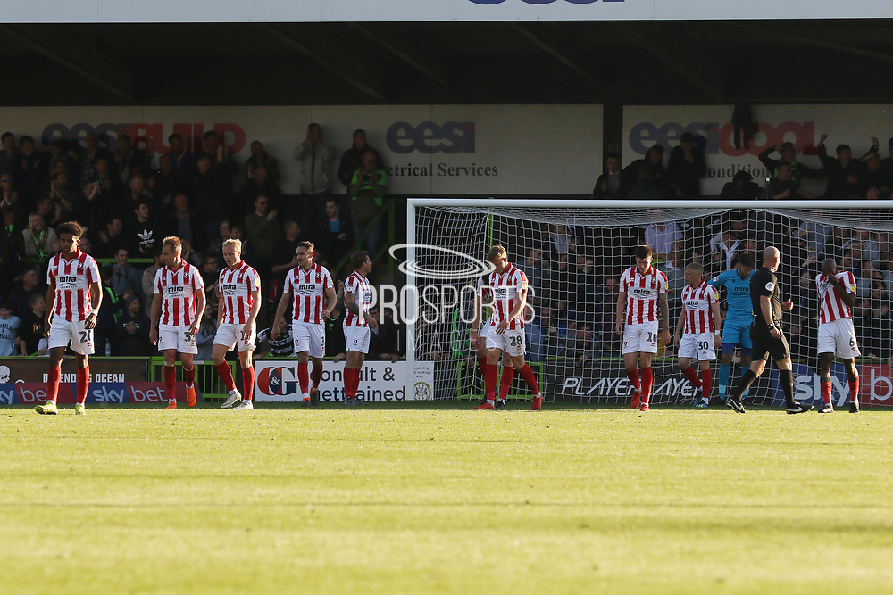 CTFC react to conceding during the EFL Sky Bet League 2 match between Forest Green Rovers and Cheltenham Town at the New Lawn, Forest Green, United Kingdom on 20 October 2018.