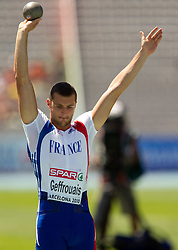 Florian Geffrouais of France competes in the Mens Decathlon Shot Put during day two of the 20th European Athletics Championships at the Olympic Stadium on July 28, 2010 in Barcelona, Spain. (Photo by Vid Ponikvar / Sportida)