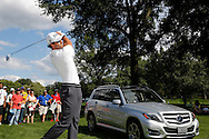 Adam Scott hits his shot in a Mercedes-Benz par 3 contest for advertising and promotion event as an ambassador  <br /> at the PGA Championship 2013 USA Oak Hill CC Rochester<br /> Picture Credit:  Mark Newcombe / visionsingolf.com