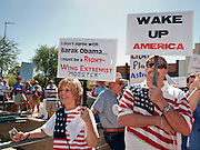 Aug. 8, 2009 -- SCOTTSDALE, AZ: SUSAN O'NELE and her husband, JAMES O'NELE, from Anthem, AZ, at a rally against the Obama health care reform plans in Scottsdale, AZ, Saturday. Nearly 1,000 people opposed to the President Barack Obama's health care reform efforts picketed the offices of Congresman Harry Mitchell (D-AZ) in Scottsdale, AZ, Saturday. The protest was organized by conservative groups who are organizing similar protests against President Obama across the US. Ostensibly concerned mostly with health care reform, it was also a protest against almost everything related to the Obama administration. Photo by Jack Kurtz / ZUMA Press
