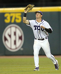 TCU Austen Wade (8) catches a pop out agaisnt Texas A&M during the fourth inning of a NCAA college baseball Super Regional tournament game, Saturday, June 11, 2016, in College Station, Texas. Texas A&M win 7-1 to even the series at 1-1. (AP Photo/Sam Craft)
