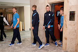 Ales Mertelj, Vid Belec , Jasmin Kurtic, Martin Milec at the reception of Slovenian footballers before going on friendly match in Algeria, on 3rd March 2014, in Brdo pri Kranju, Slovenia. Photo by Urban Urbanc / Sportida.com