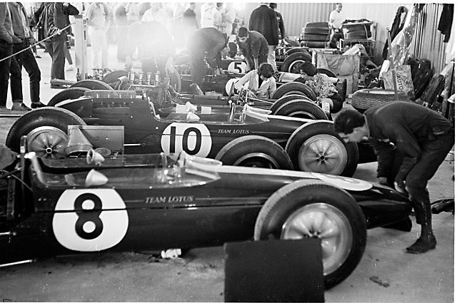 Working on F1 cars at the 1963 USGP at Watkins Glen