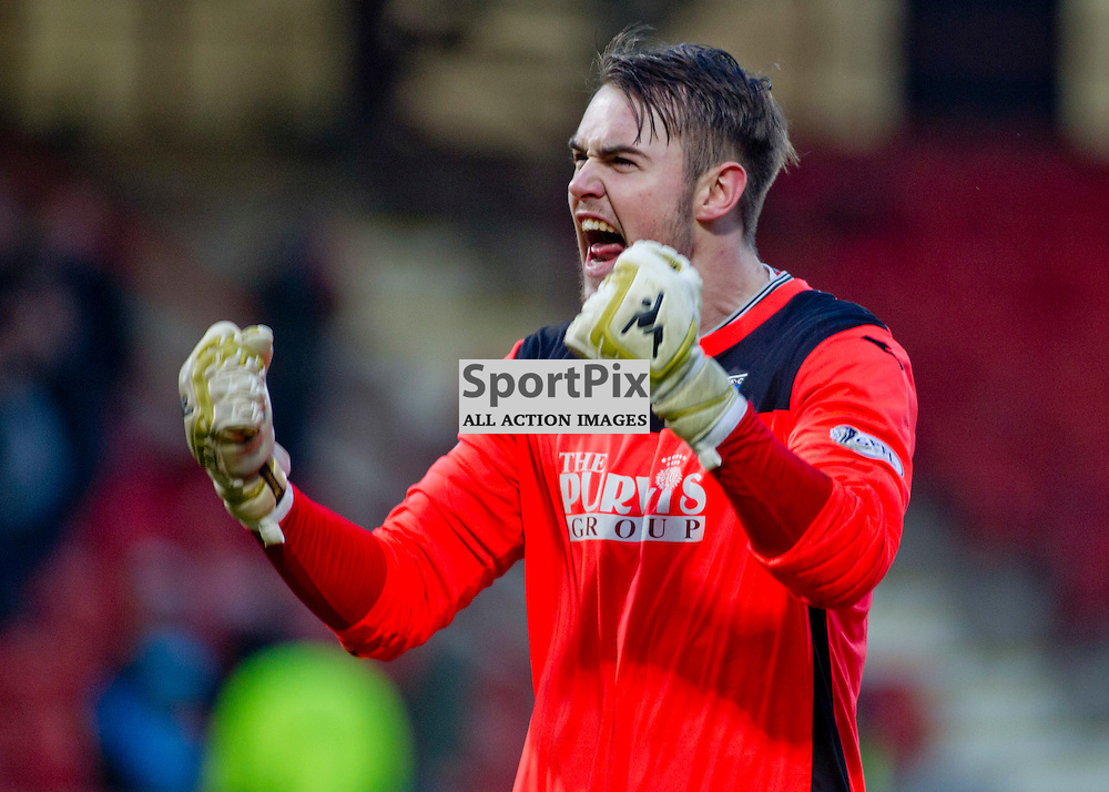 Dunfermline Athletic v Stenhousemuir SPFL League One East End Park 14 February 2015<br /> Ryan Scully celebrates at full time<br /> CRAIG BROWN | sportPix.org.uk