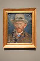 A self-portrait by Vincent Van Gogh on display at the Rijksmuseum in Amsterdam, The Netherlands