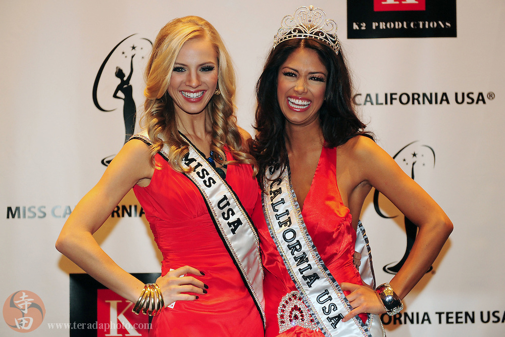 "November 22, 2009; Rancho Mirage, CA, USA; Miss USA 2009 Kristen Dalton (North Carolina, left) and Miss California USA 2010 Nicole Johnson (hometown Sherwood, right) pose for pictures during the Miss California USA 2010 Pageant at ""The Show"" at the Agua Caliente Resort & Spa. Mandatory Credit: Kyle Terada-Terada Photo"