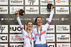 Laura Kenny (left) and Katie Archibald of Great Britain celebrate during the medal ceremonies after winning the Women's Madison Final during day three of the Tissot UCI Track Cycling World Cup at Lee Valley VeloPark, London.