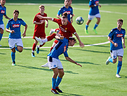 NAPLES, ITALY - Tuesday, September 17, 2019: Liverpool's Harvey Elliott (top) and SSC Napoli's Francesco Marrazzo during the UEFA Youth League Group E match between SSC Napoli and Liverpool FC at Stadio Comunale di Frattamaggiore. (Pic by David Rawcliffe/Propaganda)