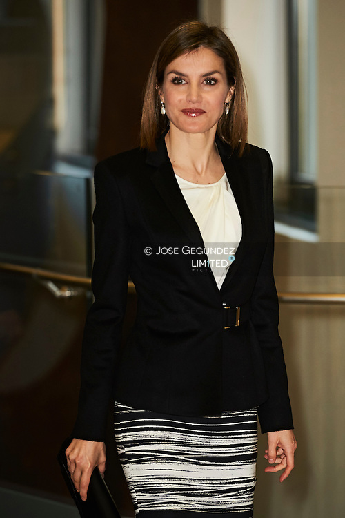 Queen Letizia of Spain attends the 5th Forum Against Cancer 'a comprehensive approach' at Telefonica Building on February 3, 2016 in Madrid