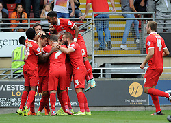 Leyton Orient celebrate their first goal - Mandatory byline: Neil Brookman/JMP - 07966386802 - 29/08/2015 - FOOTBALL - Matchroom Stadium -Leyton,England - Leyton Orient v Bristol Rovers - Sky Bet League Two