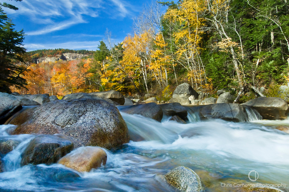 Fall colors Lower Falls, Swift River, White Mountain National Forrest, New Hampshire, USA