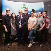 10.10. 2017.          <br /> Pictured at the Limerick Going for Gold 2017 finals in the Strand Hotel were, Mayor of the City and County of Limerick Cllr Stephen Keary with the ILovelimerick.com team.<br /> <br /> <br /> Limerick Going for Gold, which is sponsored by the JP McManus Charitable Foundation, has a total prize pool of over €75,000.  It is organised by Limerick City and County Council and supported by Limerick's Live 95FM, The Limerick Leader and The Limerick Chronicle, The Limerick Post, Parkway Shopping Centre, I Love Limerick and Southern Marketing Media & Design. Picture: Alan Place