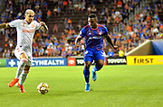 Joseph-Claude Gyau (36) of FC Cincinnati attempts to take the ball away from an Atlanta United FC player during a MLS soccer game, Wednesday, September 18, 2019, in Cincinnati, OH. Atlanta defeated Cincinnati 2-0. (Jason Whitman/Image of Sport)