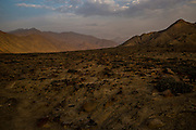 The moonlike scenery of Cieneguilla desert at dusk , a quiet location in the outskirts of Lima, Peru, Saturday, November, 21, 2015.