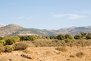 Hermon Stream Nature reserve (Banias) Golan Heights Israel The Nimrod Fort in the background (left)